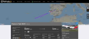 Iberia flight IB6453 from Madrid to Quito diverted to Lisbon