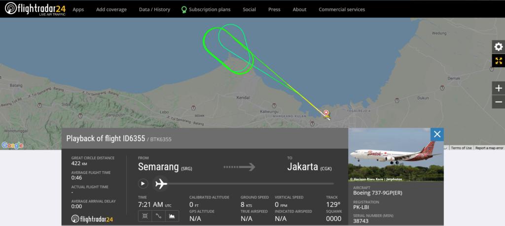 Batik Air flight ID6355 from Semarang to Jakarta returned to Semarang due to hydraulic issue