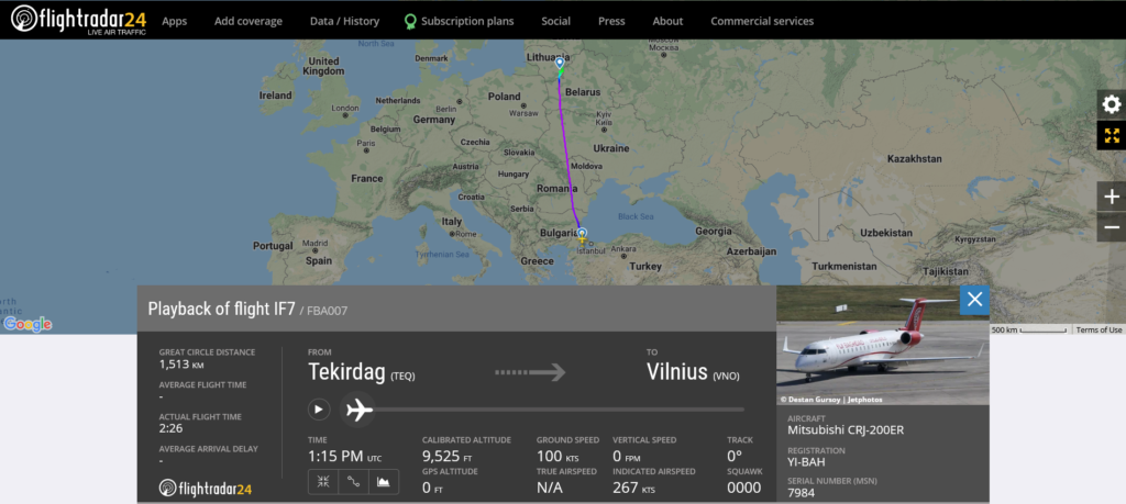 Fly Baghdad flight IF7 from Corlu to Vilnius suffered flaps issue