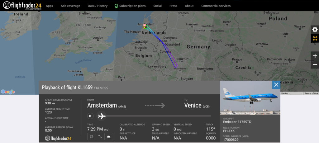 KLM flight KL1659 from Amsterdam to Venice returned to Amsterdam due to engine issue