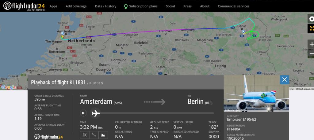 KLM flight KL1831 from Amsterdam to Berlin suffered lightning strike