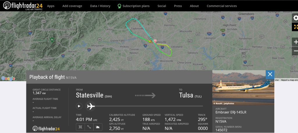 Victory Air flight from Statesville to Tulsa returned to Statesville due to engine oil pressure issue