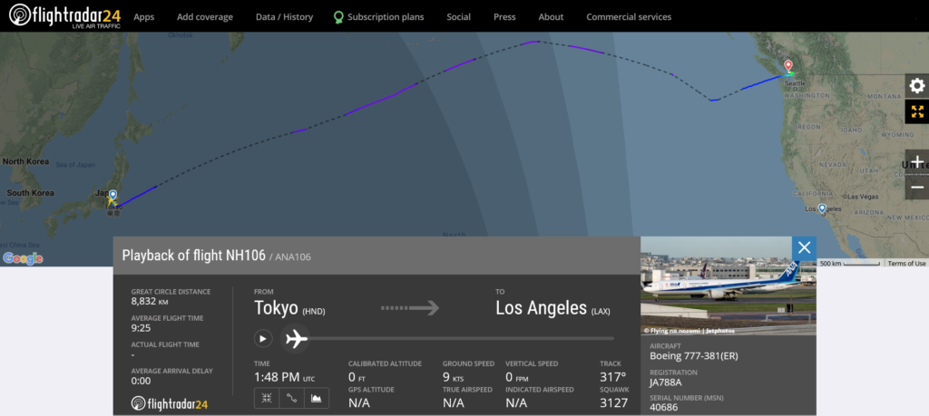 All Nippon Airways flight NH106 from Tokyo to Los Angeles diverted to Vancouver due to engine oil pressure issue