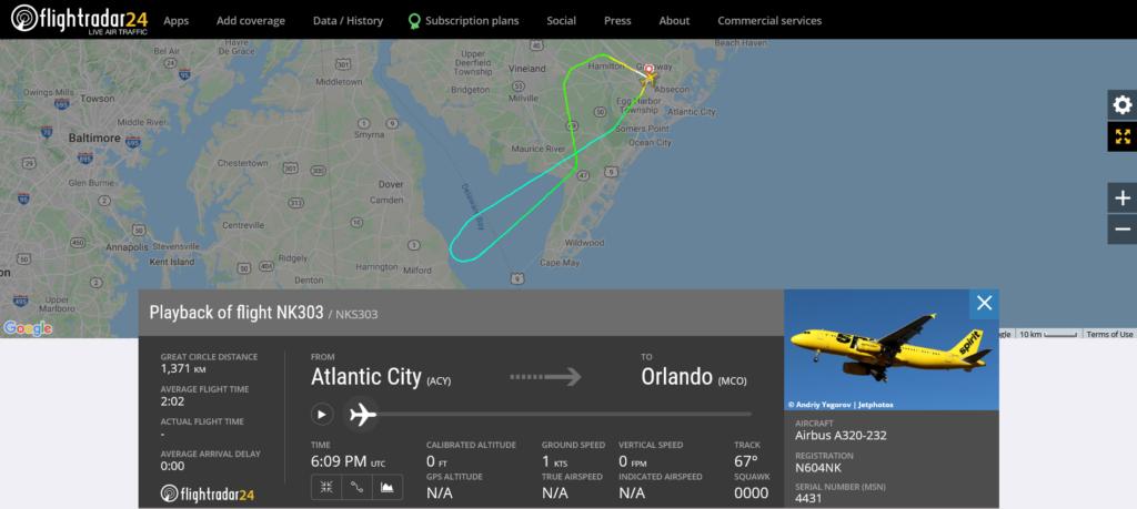Spirit Airlines flight NK303 from Atlantic City to Orlando returned to Atlantic City due to bird strike