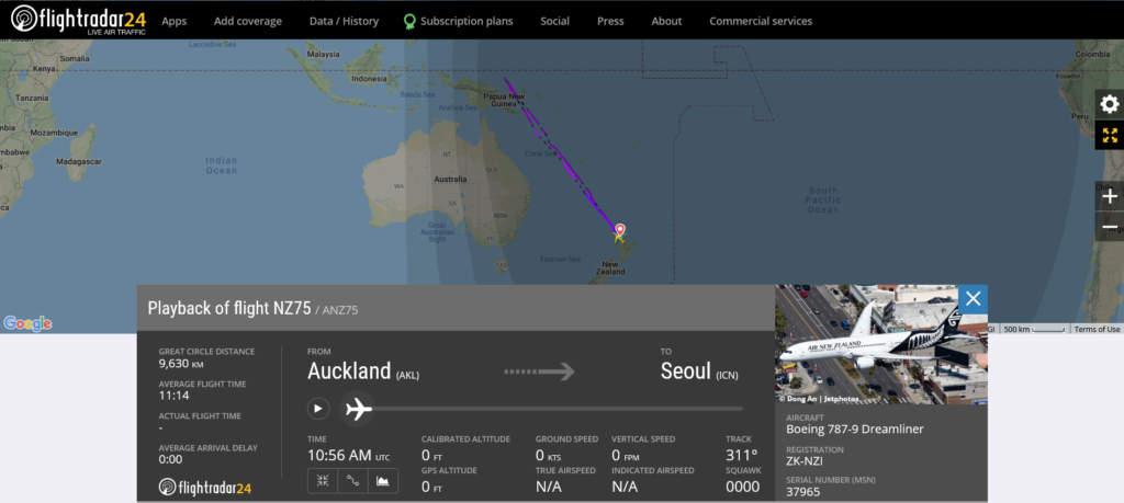 Air New Zealand flight NZ75 from Auckland to Seoul returned to Auckland due to computer issue
