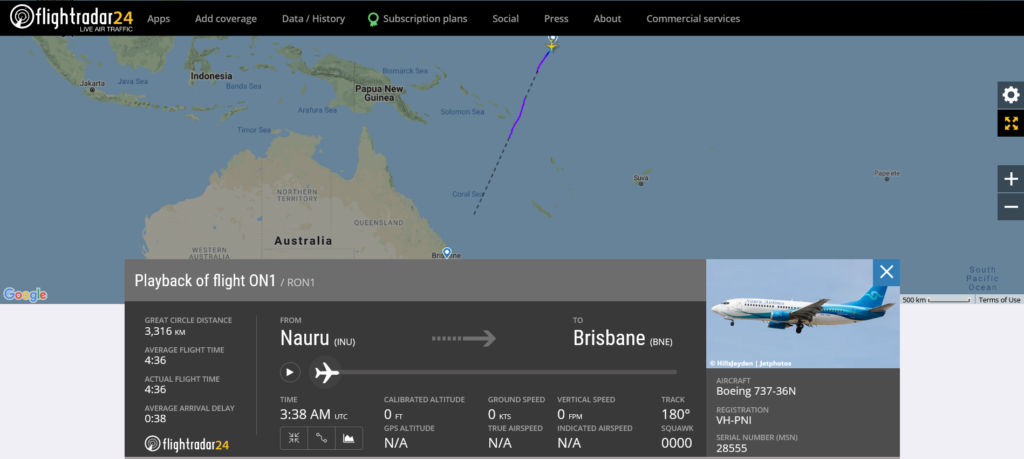 Nauru Airlines flight ON1 from Nauru to Brisbane experienced engine compressor stall