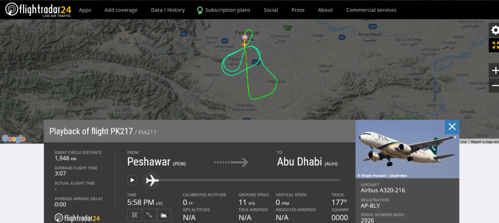 Pakistan International Airlines flight PK217 from Peshawar to Abu Dhabi returned to Peshawar due to technical issue