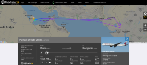 Qatar Airways flight QR832 from Doha to Bangkok returned to Doha due to a tyre issue