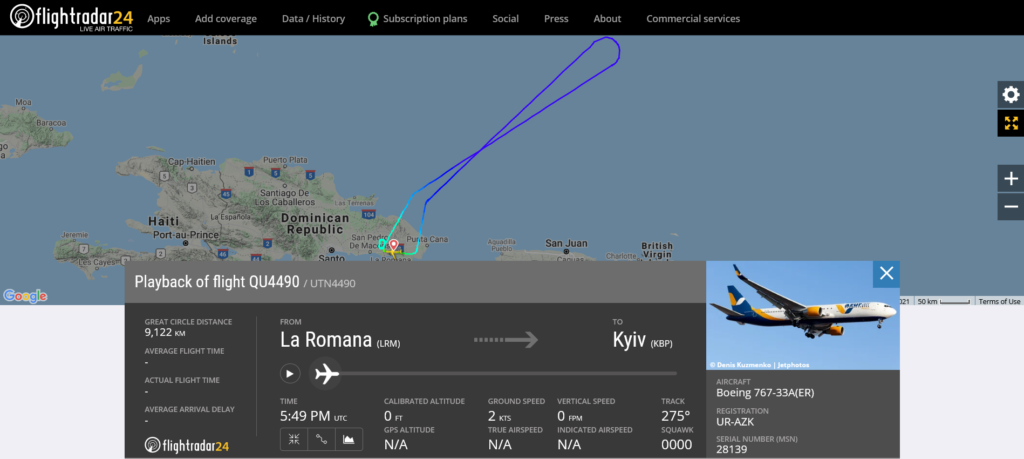 Azur Air Ukraine flight QU4490 from La Romana to Kyiv returned to La Romana due to technical issue