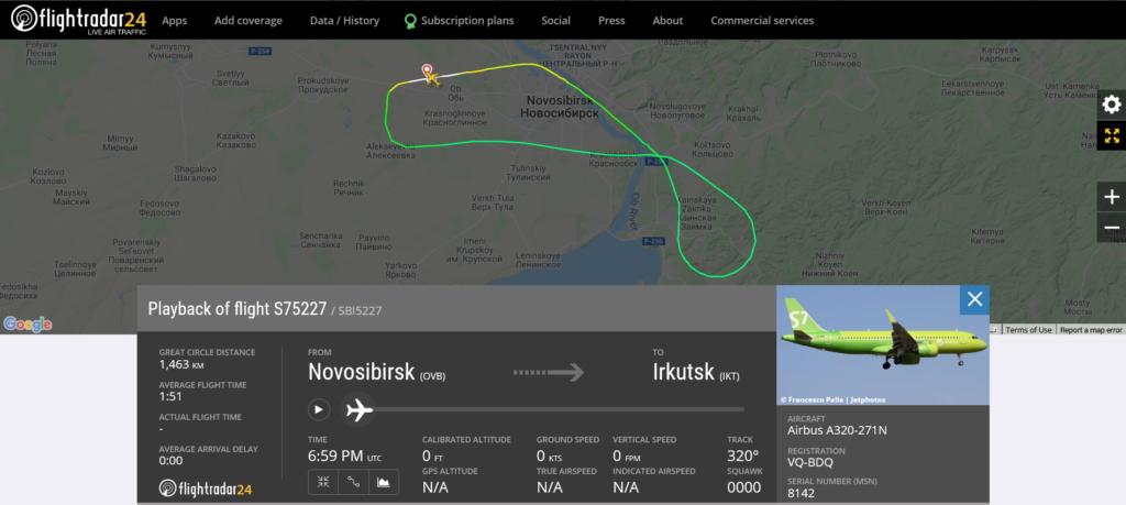 S7 Airlines flight S75227 from Novosibirsk to Irkutsk returned to Novosibirsk after engine shut down