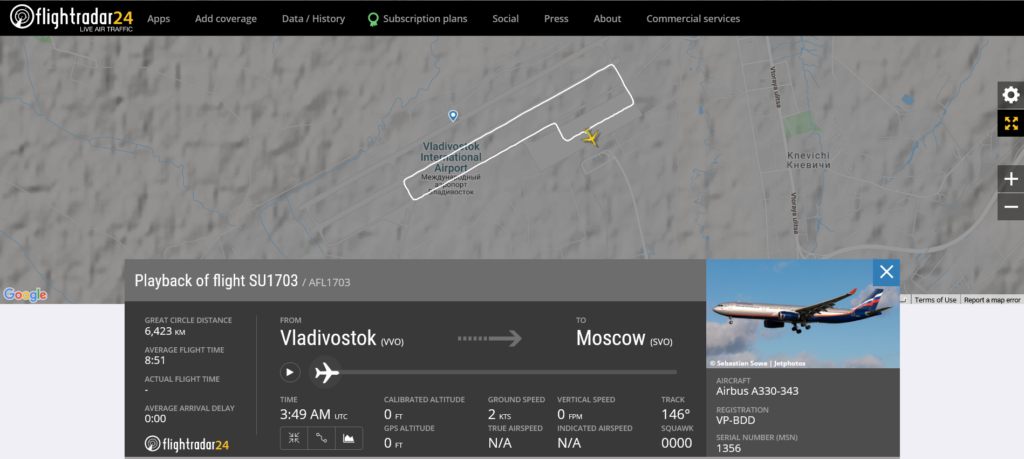 Aeroflot flight SU1703 from Vladivostok to Moscow rejected takeoff due to engine issue