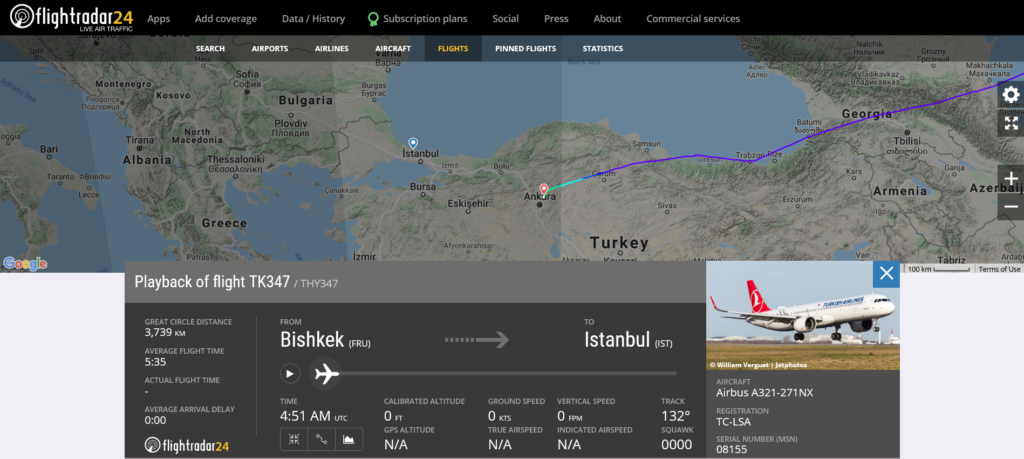 Turkish Airlines flight TK347 from Bishkek to Istanbul diverted to Ankara due to a medical emergency