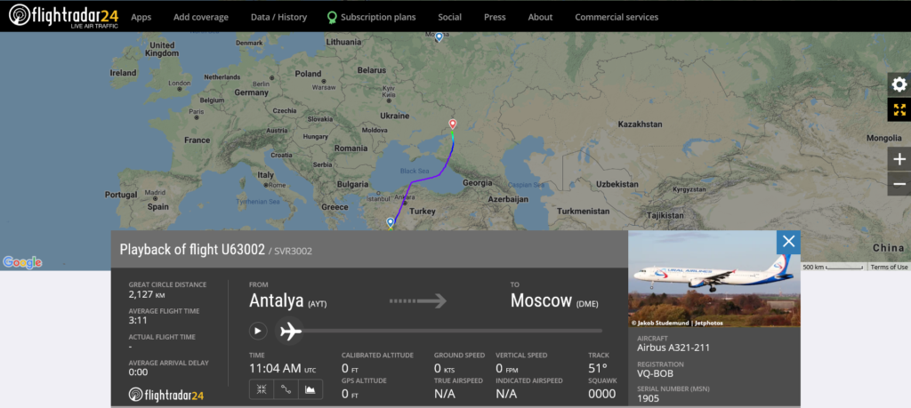 Ural Airlines flight U63002 from Antalya to Moscow diverted to Rostov-on-Don after an engine shut down