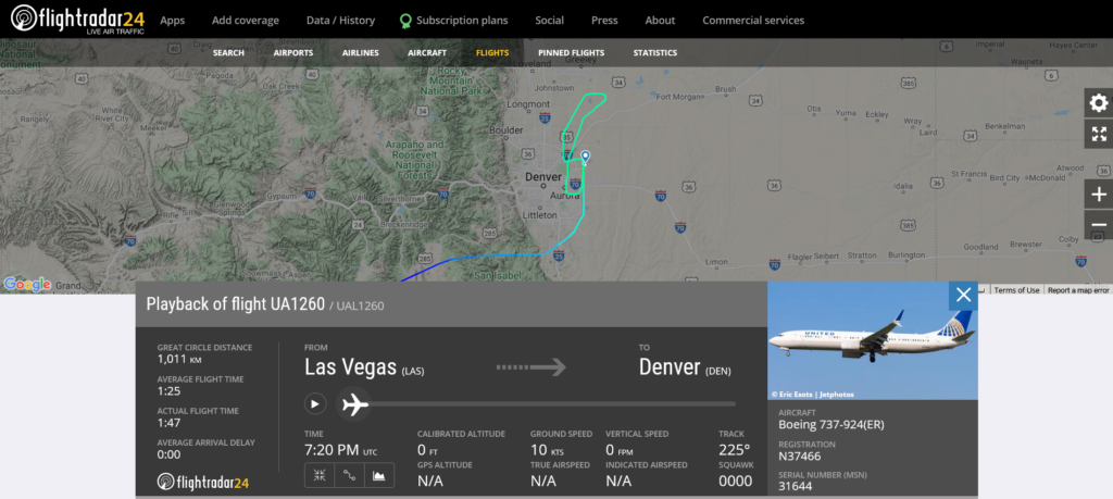 United Airlines flight UA1260 from Las Vegas to Denver suffered flaps issue