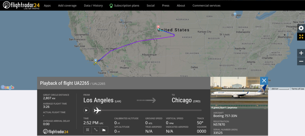 United Airlines flight UA2265 from Los Angeles to Chicago diverted to Denver due to a smoke in the cockpit