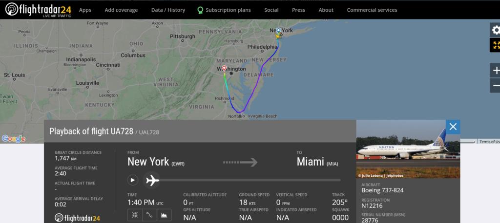 Diversion 10.3.2021 United Airlines flight UA728 - | Boeing 737-824, registration N12216.