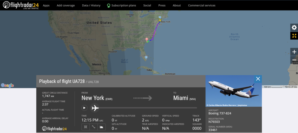 United Airlines flight UA728 from New York to Miami diverted to Charleston due to passenger disturbance