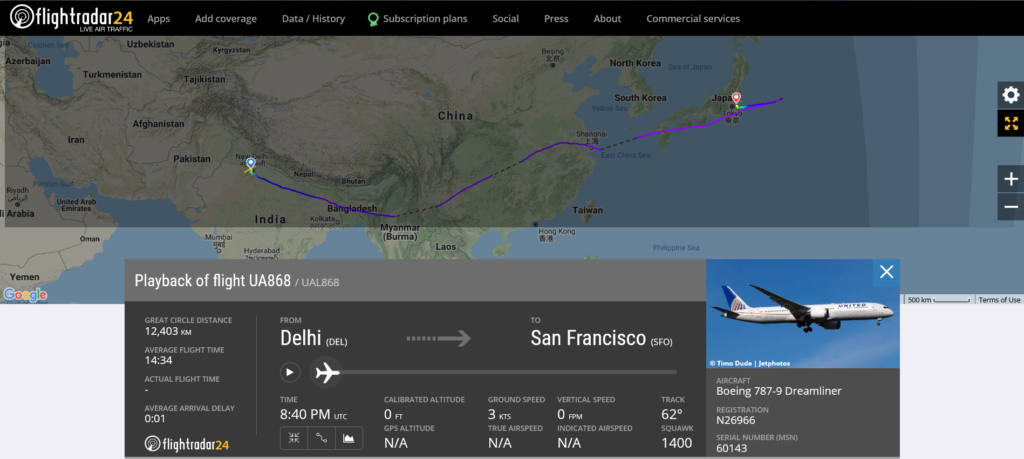United Airlines flight UA868 from Delhi to San Francisco diverted to Tokyo due to customer service matter in the cabin