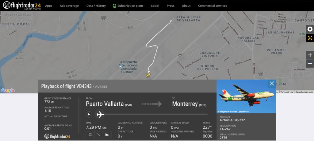 VivaAeroBus flight VB4343 from Puerto Vallarta to Monterrey suffered nose gear issue prior to takeoff