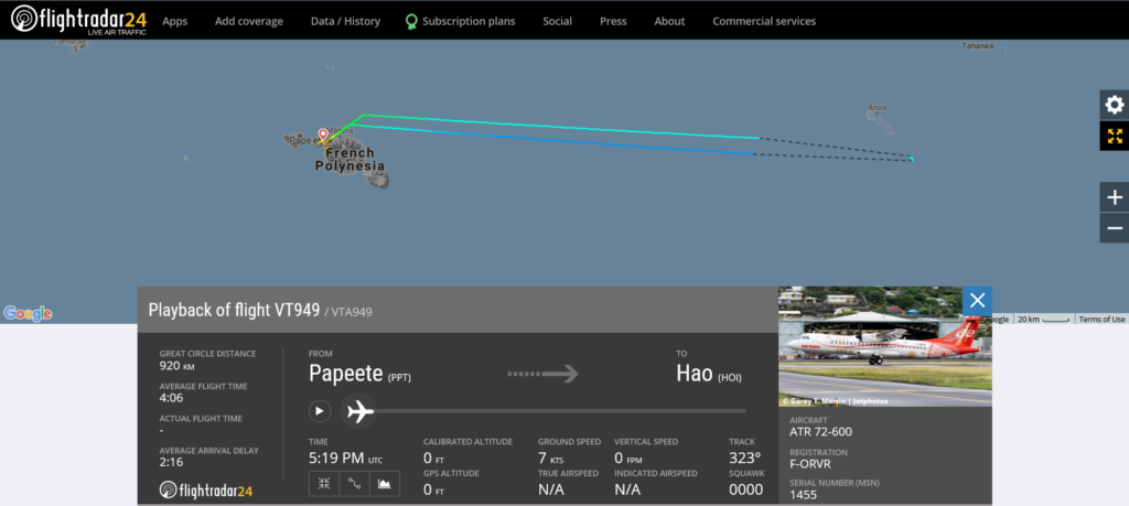 Air Tahiti flight VT949 from Papeete to Hao returned to Papeete due to technical issue