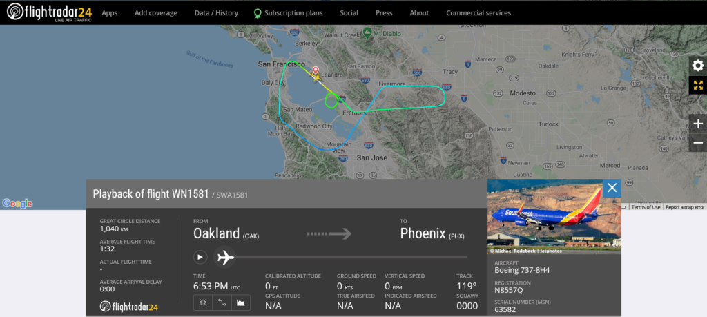 Southwest Airlines flight WN1581 from Oakland to Phoenix returned to Oakland after engine shut down