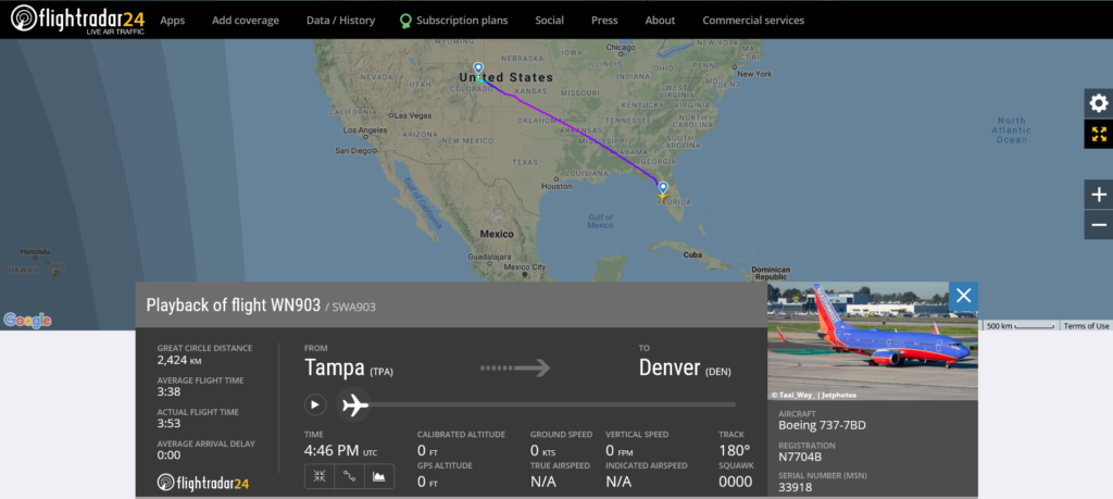 Southwest Airlines flight WN903 from Tampa to Denver suffered speed brake issue