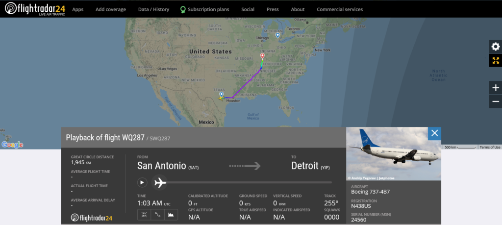 Swift Air flight WQ287 from San Antonio to Detroit diverted to Evansville due to pressurisation issue