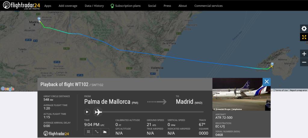 Swiftair flight WT102 from Palma de Mallorca to Madrid suffered tyre damage on departure