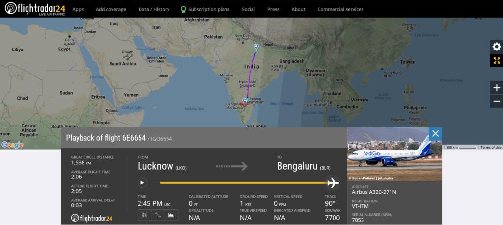IndiGo flight 6E6654 from Lucknow to Bengaluru declared an emergency due to pressurisation issue
