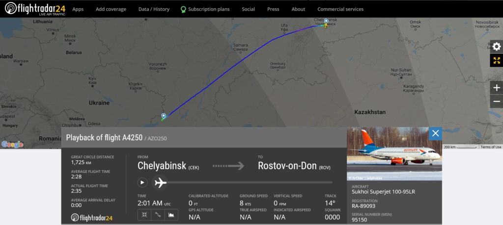 Azimuth flight A4250 from Chelyabinsk to Rostov-on-Don suffered hydraulic issue