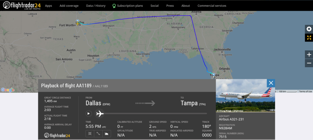 American Airlines flight AA1189 from Tampa to Dallas suffered a lightning strike