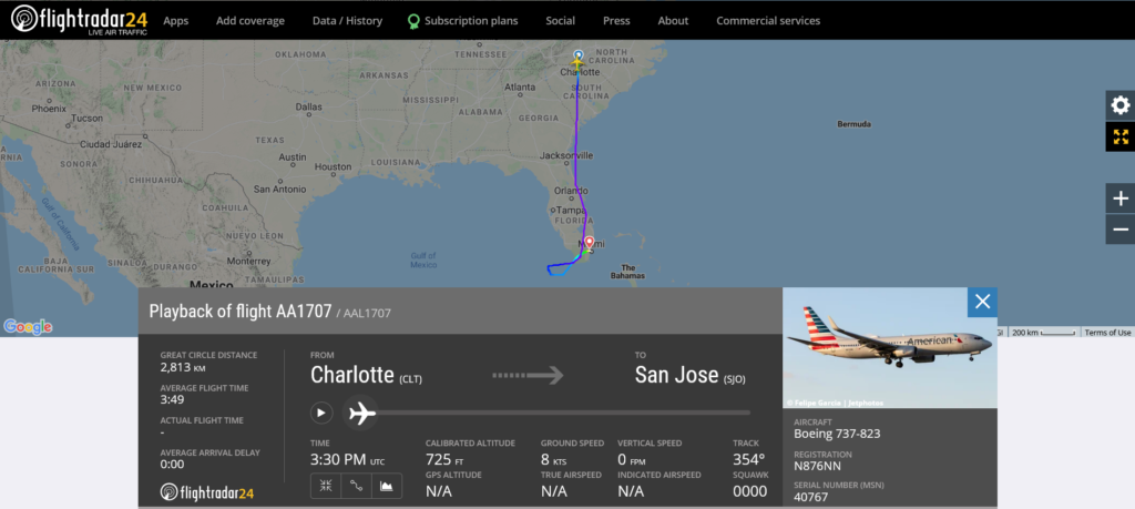 American Airlines flight AA1707 from Charlotte to San Jose diverted to Miami due to standby display system issue