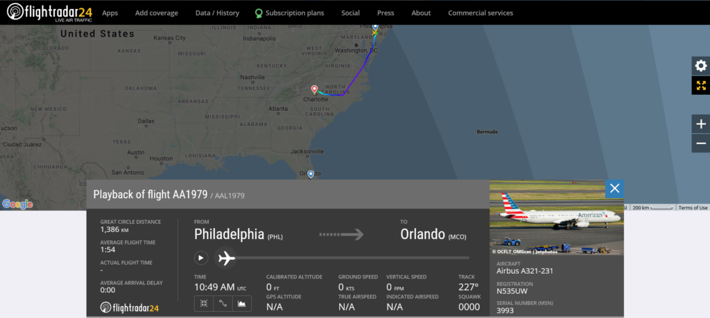 American Airlines flight AA1979 from Philadelphia to Orlando diverted to Charlotte due to hydraulic issue