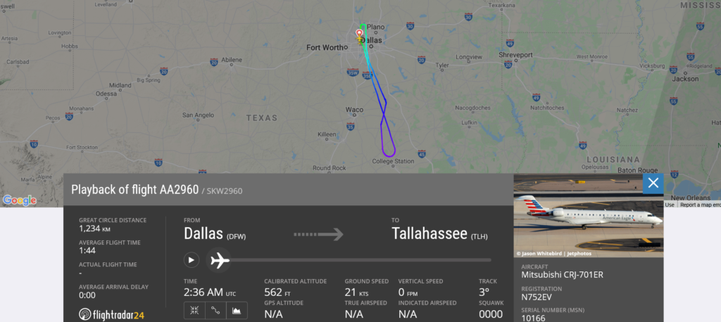 American Airlines flight AA2960 from Dallas to Tallahassee returned to Dallas due to steering issue