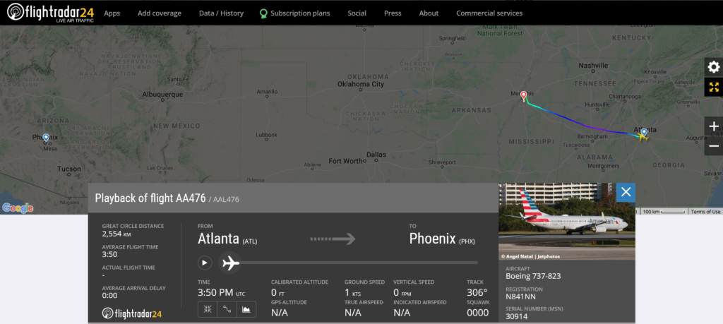 American Airlines flight AA476 from Atlanta to Phoenix diverted to Memphis due to possible mechanical issue