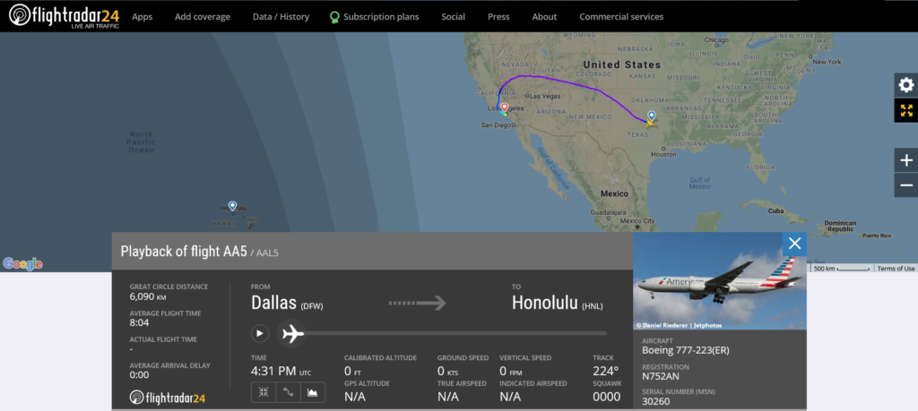 American Airlines flight AA5 from Dallas to Honolulu diverted to Los Angeles due to maintenance issue