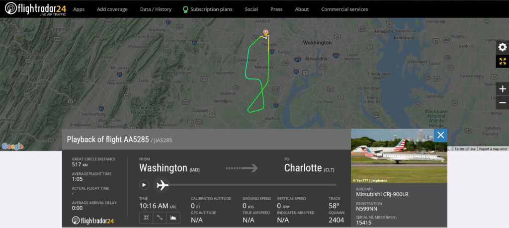 American Airlines flight AA5285 from Washington to Charlotte returned to Washington due to gear issue indication