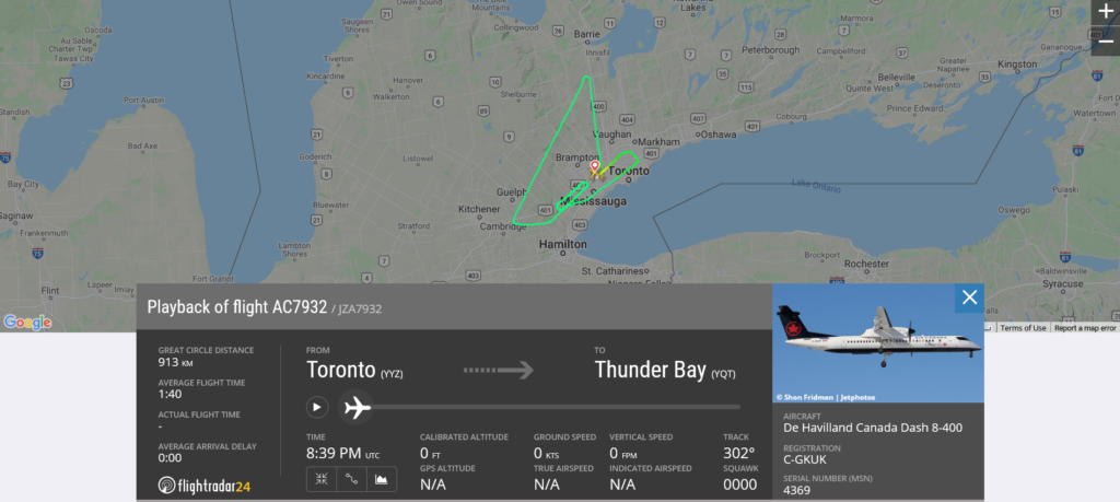 Air Canada flight AC7932 from Toronto to Thunder Bay returned to Toronto due to landing gear issue