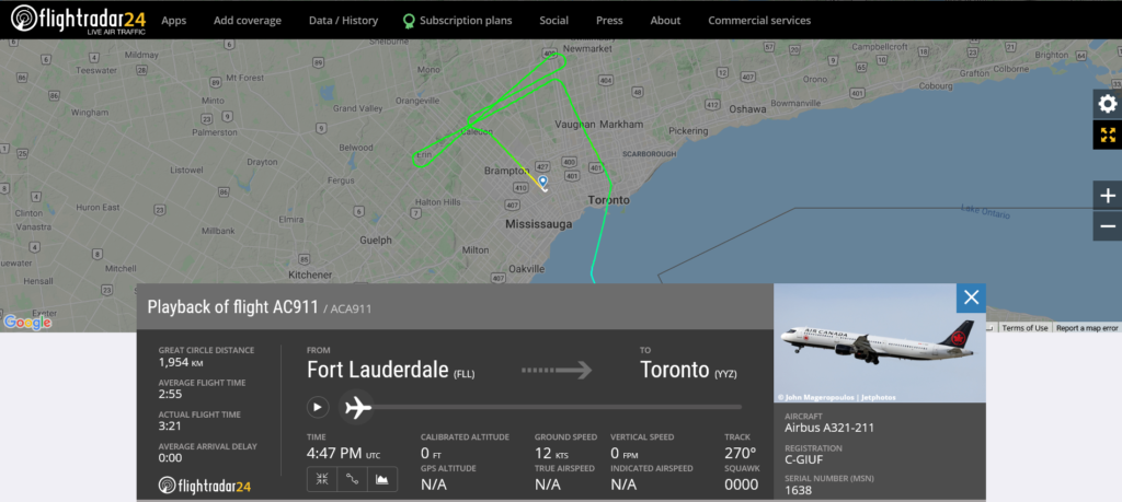 Air Canada flight AC911 from Fort Lauderdale to Toronto suffered flaps issue