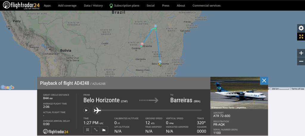 Azul Linhas Aereas flight AD4248 from Belo Horizonte to Barreiras received unsafe gear indication