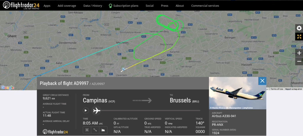 Azul Linhas Aereas flight AD9997 from Campinas to Brussels suffered flaps issue