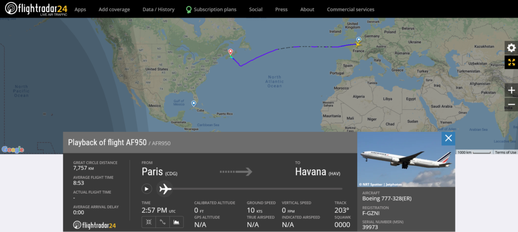 Air France flight AF950 from Paris to Havana diverted to Halifax due to medical emergency