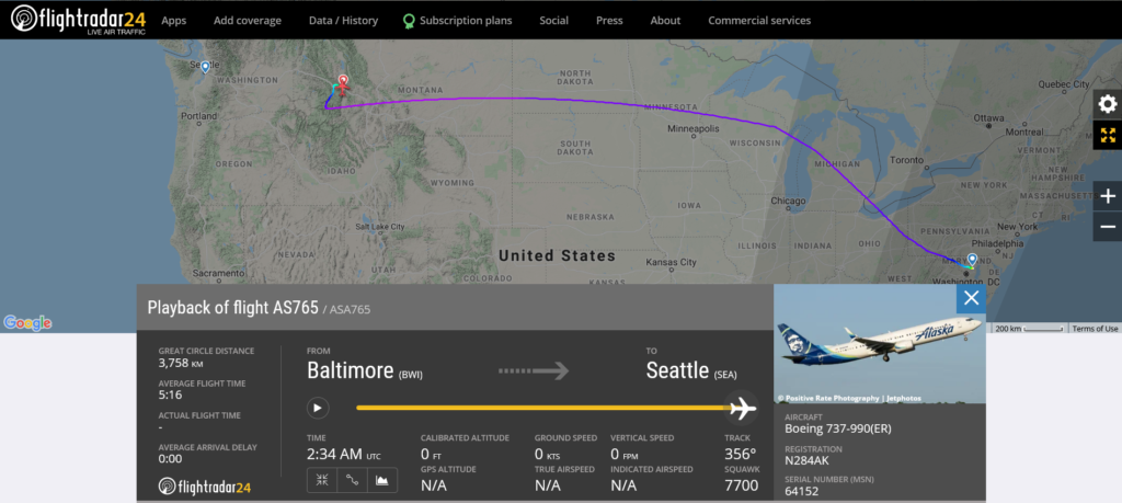 Alaska Airlines flight AS765 from Baltimore to Seattle declared an emergency and diverted to Missoula due to medical emergency