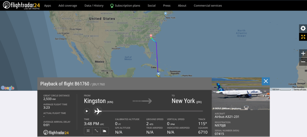 JetBlue flight B61760 from Kingston to New York diverted to Charleston due to medical emergency