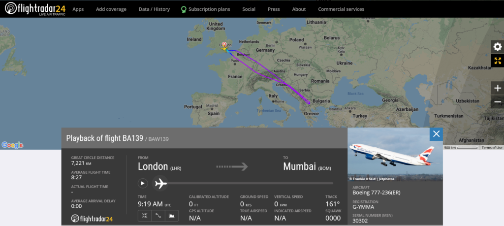 British Airways flight BA139 from London to Mumbai returned to London due to a weather radar issue
