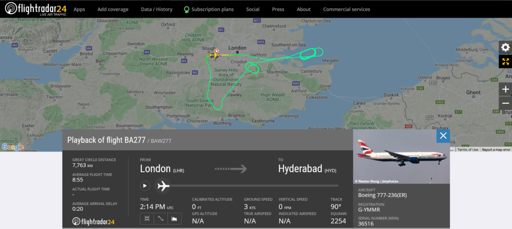 British Airways flight BA277 from London to Hyderabad returned to London due to technical issue