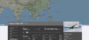 China Airlines flight CI783 from Taipei to Ho Chi Minh City suffered bird strike