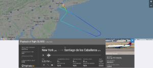 Delta Air Lines flight DL1855 from New York to Santiago de los Caballeros returned to New York due to airspeed indication issue