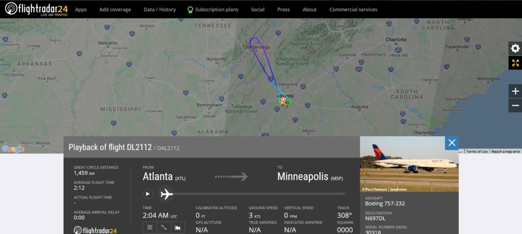 Delta Air Lines flight DL2112 from Atlanta to Minneapolis returned to Atlanta