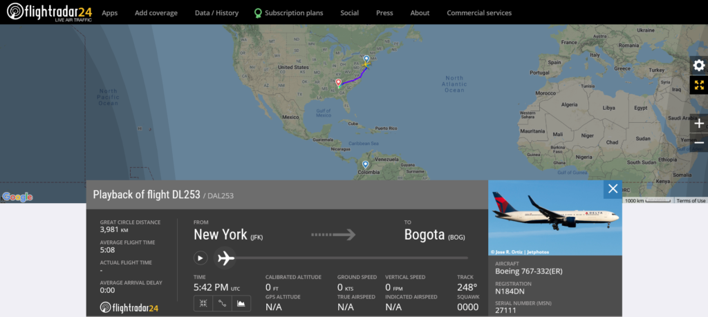 Delta Air Lines flight DL253 from New York to Bogota diverted to Atlanta
